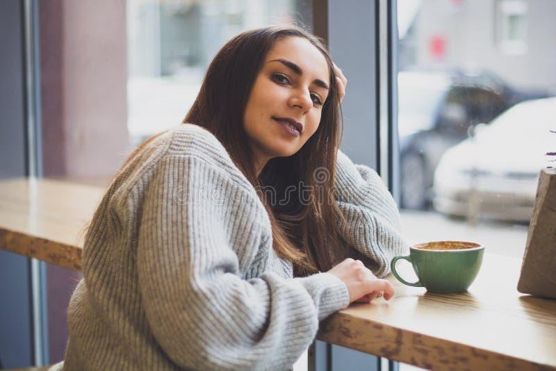 portret van jong mooi glimlachend donkerbruin meisje in grijze sweater royalty-vrije stock fotografie