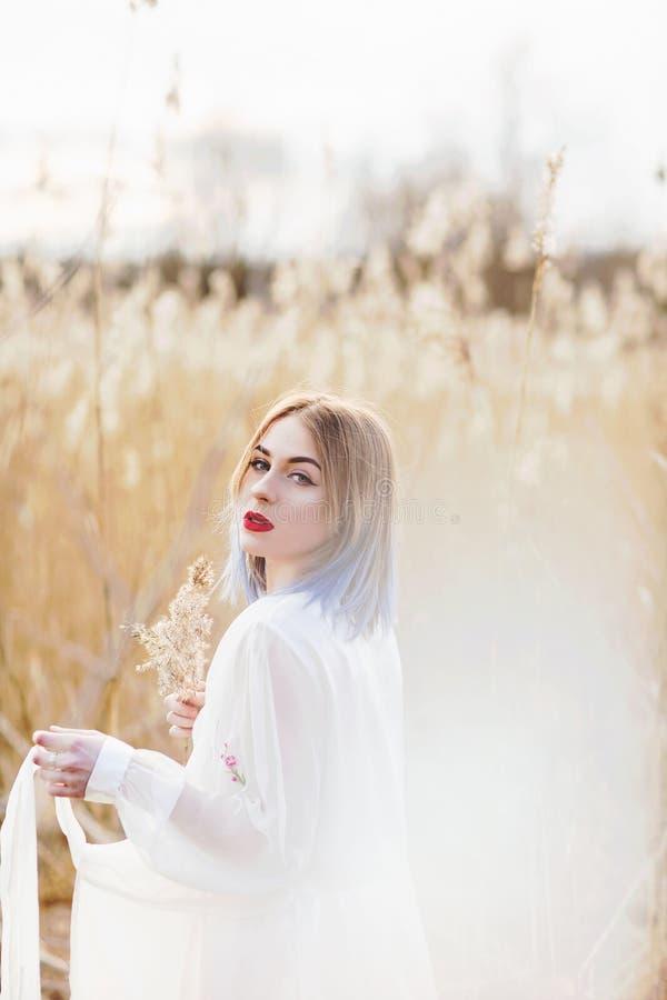 Portret van jong mooi meisje in de witte kleding op tarwegebied, onbezorgd lopen, Het genieten van de van mooie zonnige dag stock foto's
