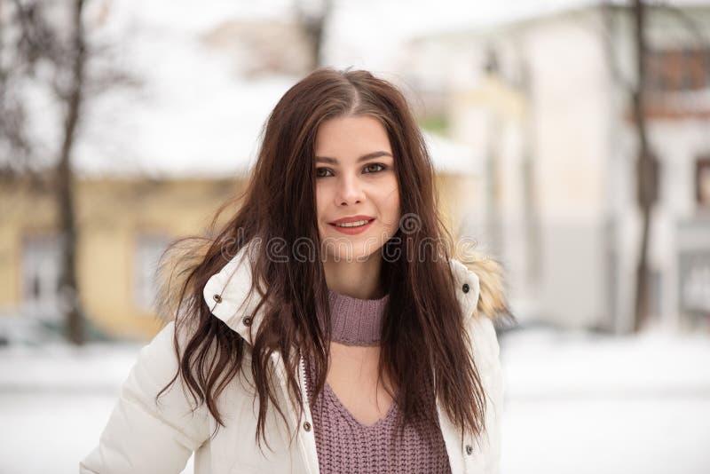 Portret van jong mooi meisje met los haar, in openlucht, de wintertijd royalty-vrije stock foto's