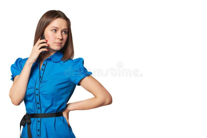 Portret van jong vrouwentelefoongesprek Geïsoleerd Mooi Meisje Sprekende mobiele telefoonvrouw royalty-vrije stock afbeelding