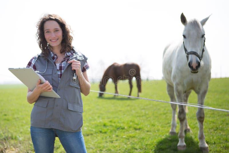 Portret van jonge aantrekkelijke veterinair op gebieden met paard stock afbeeldingen