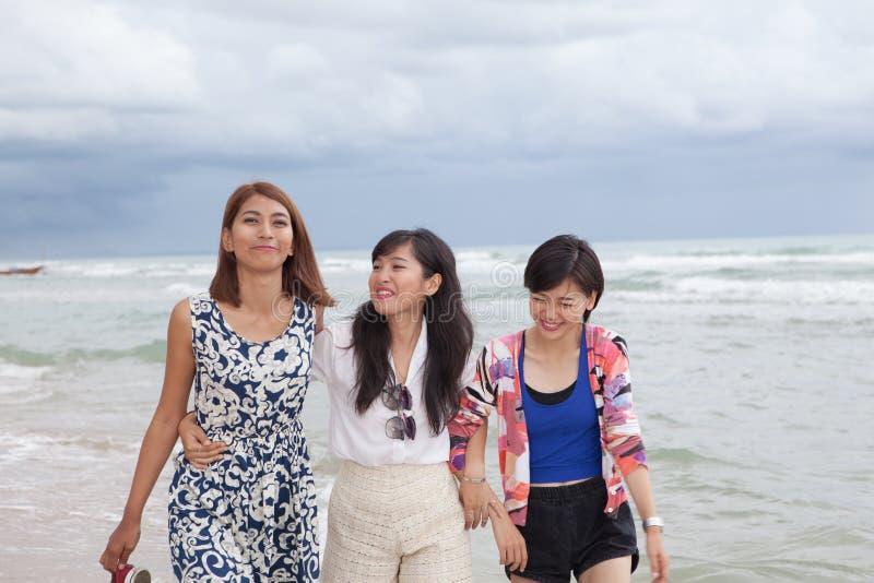 Portret van jonge Aziatische de groeps ontspannende cacation van de vrouwenvriend  royalty-vrije stock foto's