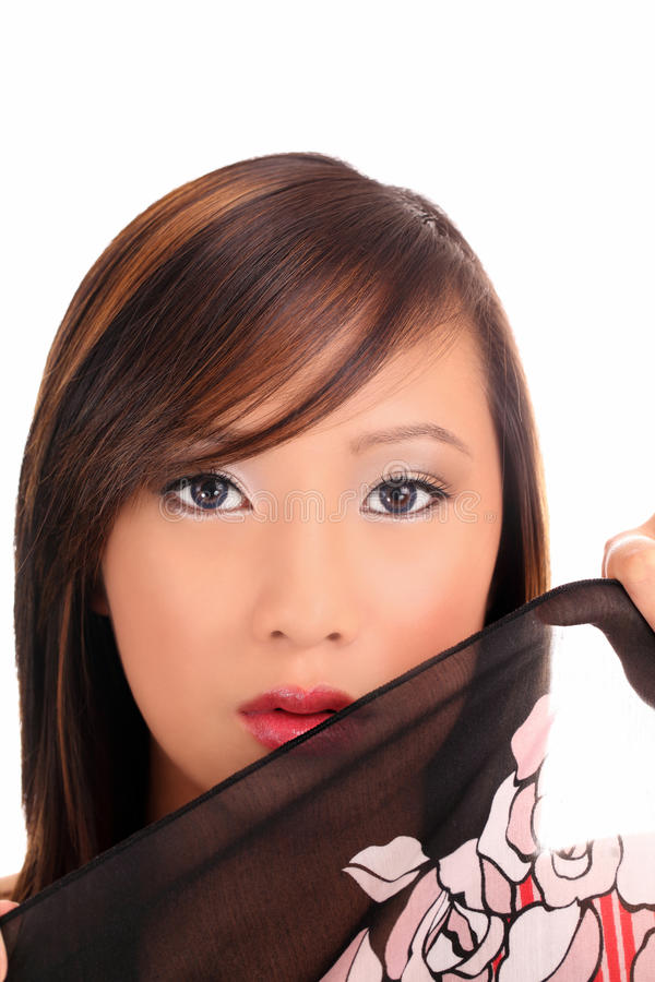 Portret van jonge Aziatische tienervrouw met doek royalty-vrije stock afbeelding