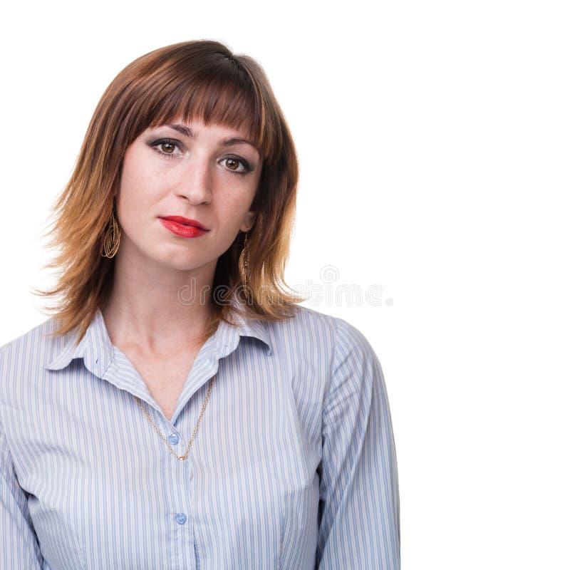 Portret van jonge bedrijfsdievrouw op wit wordt geïsoleerd stock afbeeldingen