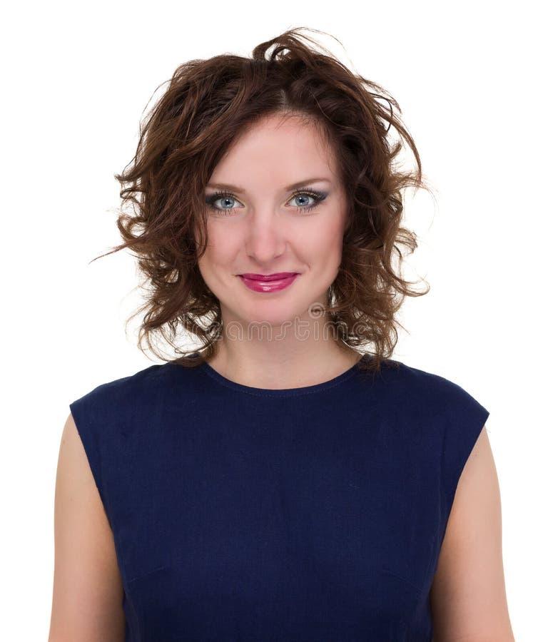 Portret van jonge bedrijfsdievrouw op wit wordt geïsoleerd royalty-vrije stock fotografie