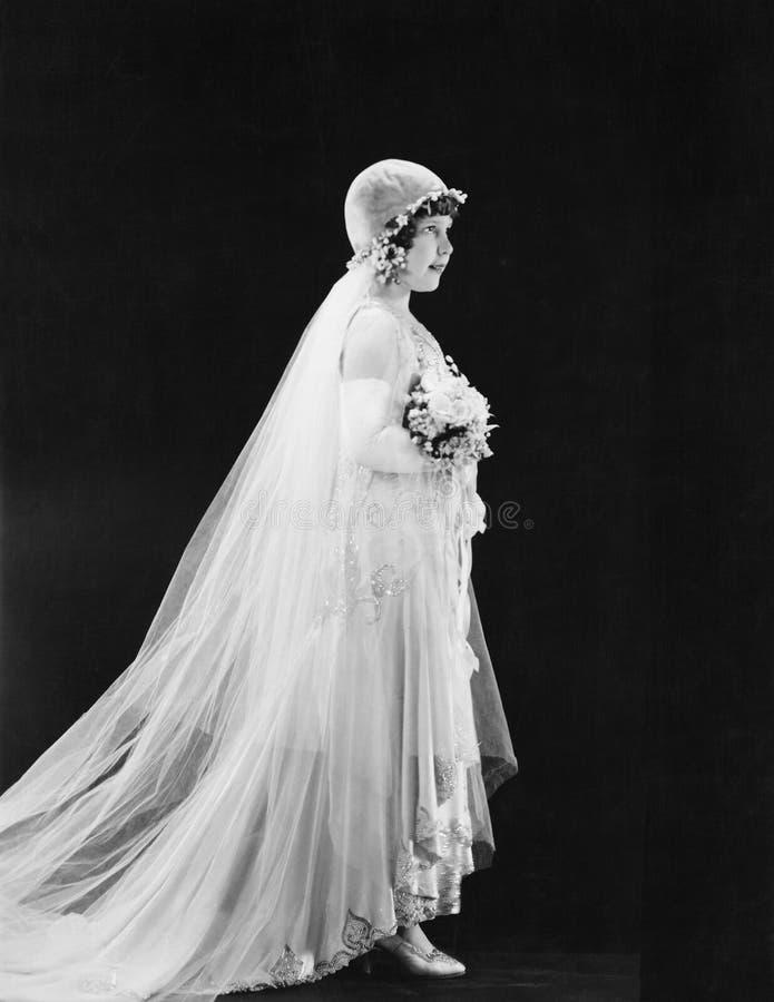 Portret van jonge bruid (Alle afgeschilderde personen leven niet langer en geen landgoed bestaat Leveranciersgaranties dat er zal royalty-vrije stock afbeeldingen