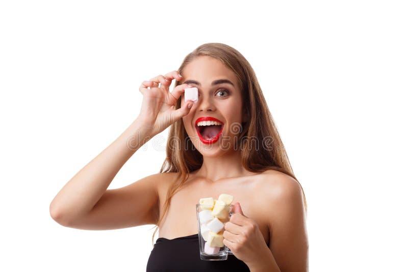 Portret van jonge dame die heemst eten royalty-vrije stock fotografie