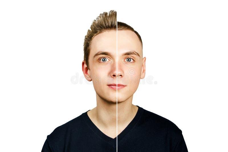 Portret van jonge die kerel v??r caesar arterkapsel en pompadour, op een witte achtergrond wordt ge?soleerd royalty-vrije stock afbeeldingen