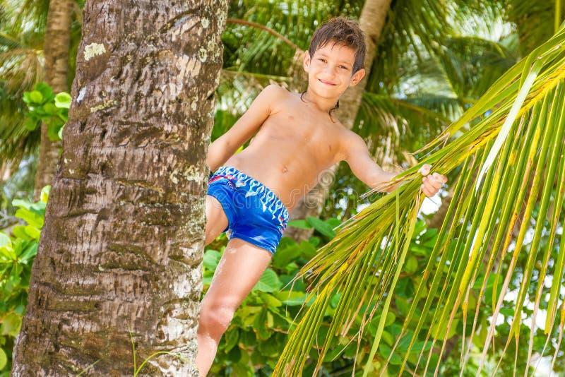 Portret van jonge gelukkige kindjongen op tropische achtergrond royalty-vrije stock foto's