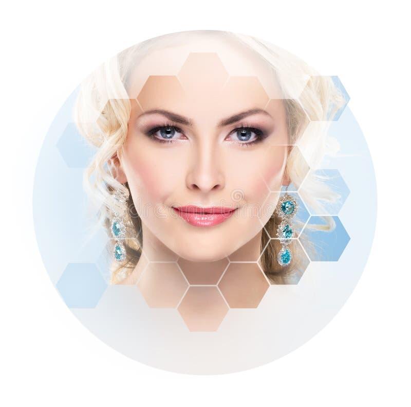 Portret van jonge, gezonde en mooie meisjesplastische chirurgie, huid, kuuroord, schoonheidsmiddelen en geneeskundeconcept die op royalty-vrije stock afbeeldingen