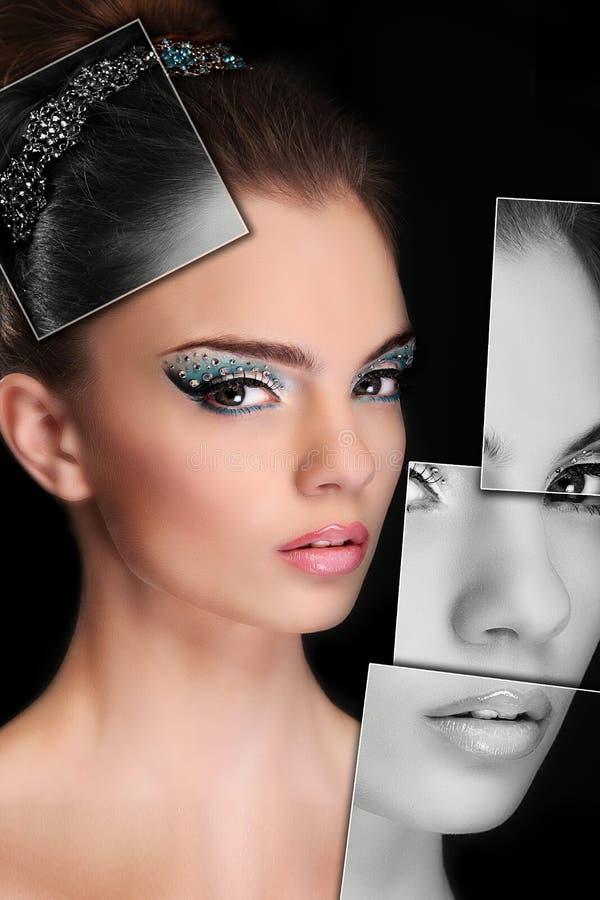 Portret van jonge, gezonde en mooie vrouwenplastische chirurgie, stock fotografie