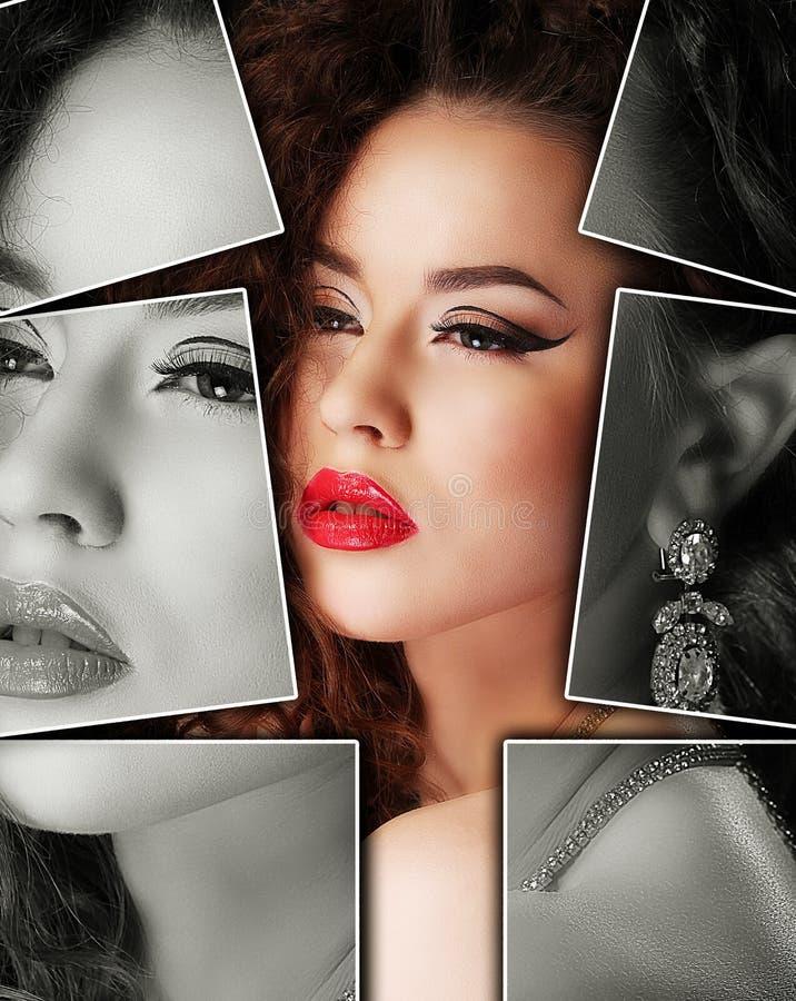 Portret van jonge, gezonde en mooie vrouwenplastische chirurgie, stock afbeelding