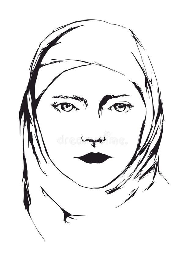 Portret van jonge Islamitische vrouw in sluier royalty-vrije stock afbeeldingen
