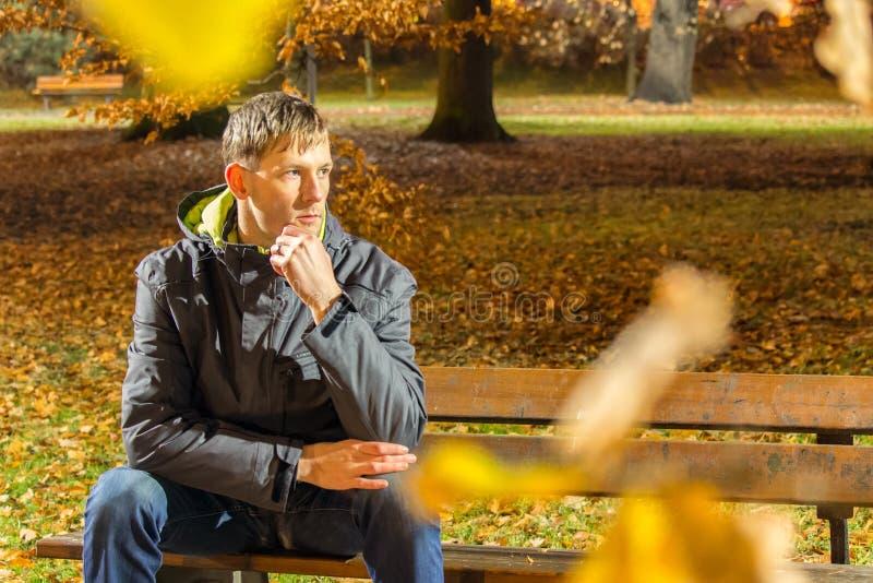 Portret van jonge mensenzitting op bank in stadspark bij nacht door bladeren stock afbeeldingen
