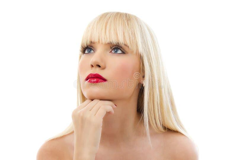 Portret van jonge mooie blonde vrouw stock foto's