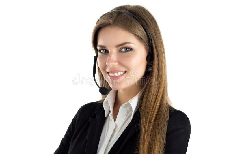 Portret van jonge mooie glimlachende call centrearbeider stock foto's