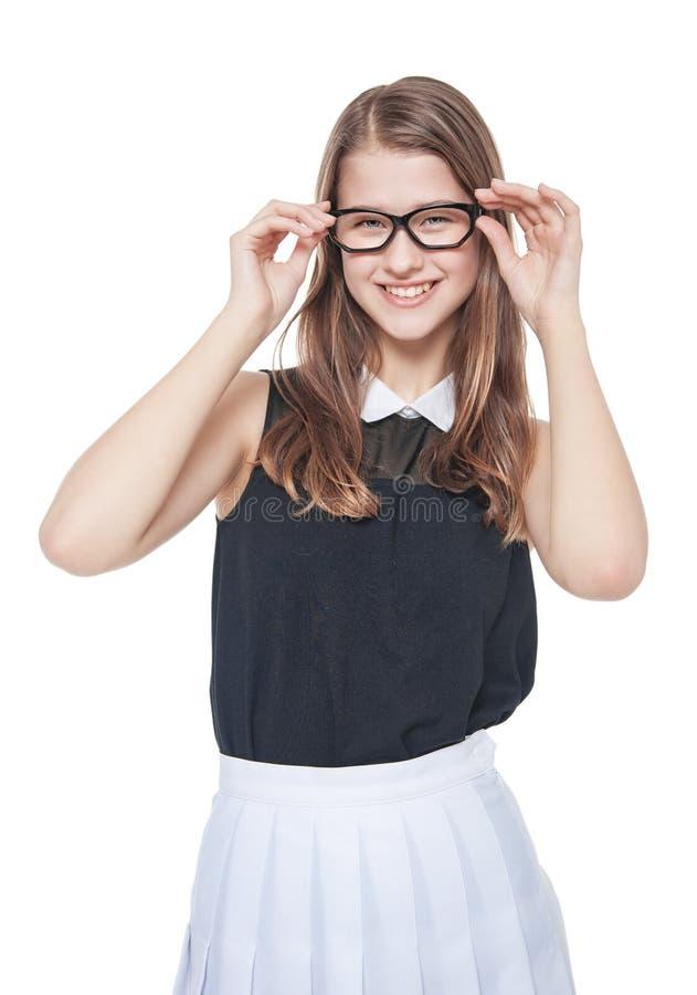 Portret van jonge mooie tiener in glazen stock foto