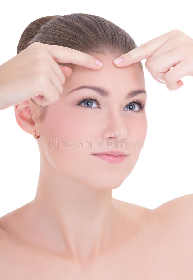 Portret van jonge mooie vrouw die acne of pukkelisola drukken royalty-vrije stock foto