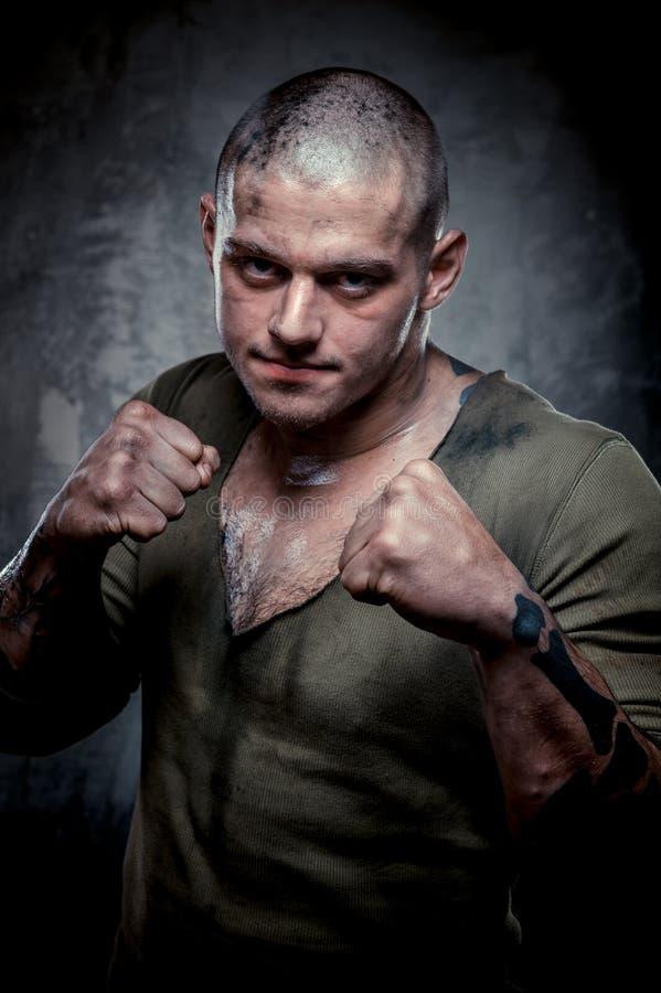 Portret van jonge vechter stock afbeelding