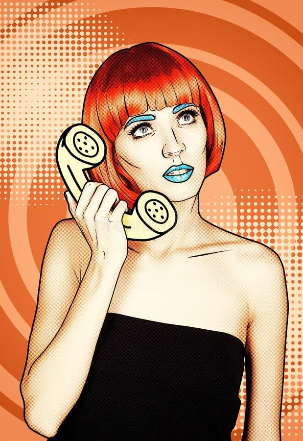 Portret van jonge vrouw in de grappige stijl van de pop-artsamenstelling Wijfje i royalty-vrije illustratie