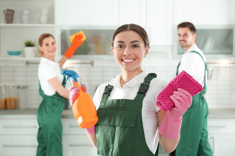 Portret van jonge vrouw met spuitbus en vod de schoonmakende dienst stock foto
