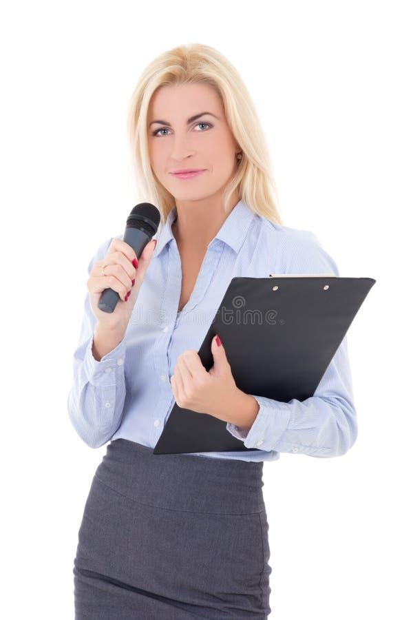 Portret van jonge vrouwelijke journalist met microfoon en clipboar stock afbeeldingen