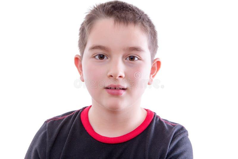 Portret van Jongen met Lege Uitdrukking stock afbeelding