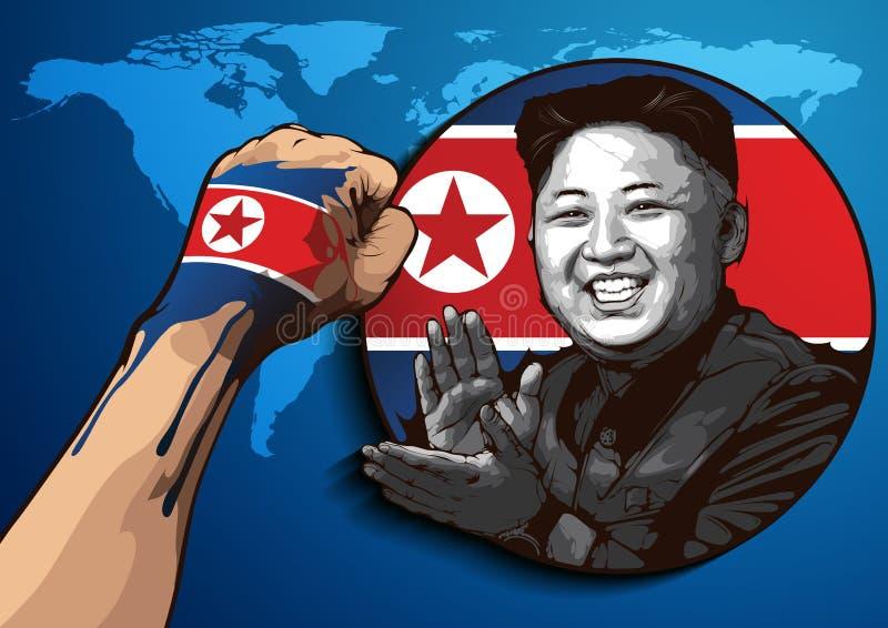 Portret van Kim Jong-un stock illustratie
