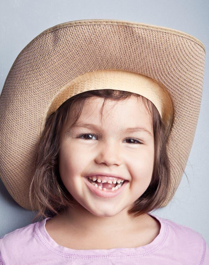 Portret van kind in cowboyhoed royalty-vrije stock afbeelding