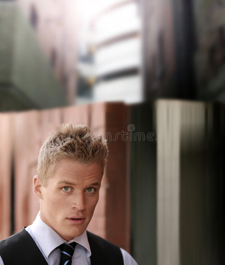 Portret van knappe jonge zakenman royalty-vrije stock afbeelding