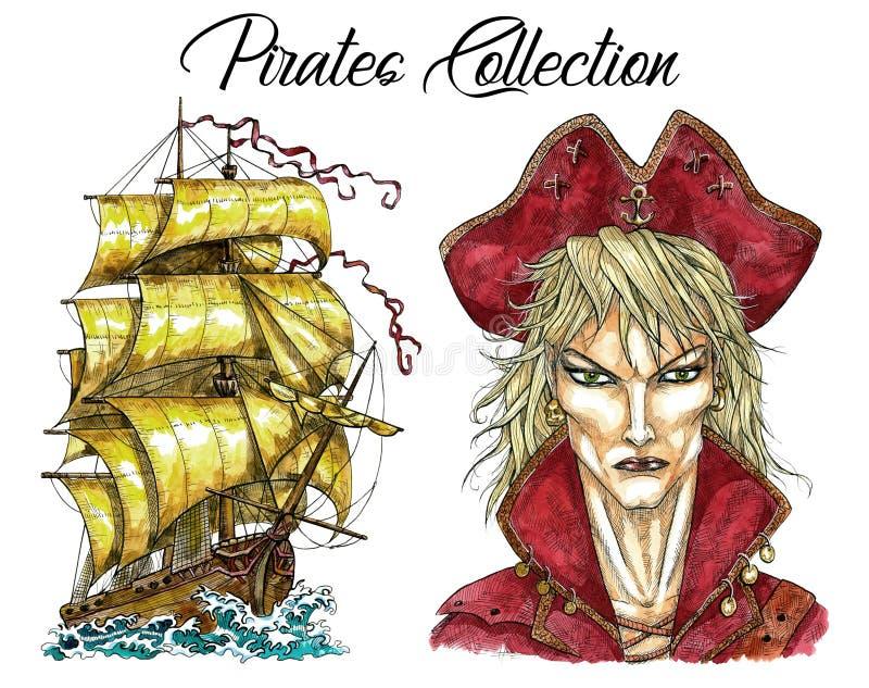 Portret van knappe piraatkapitein en oud schip stock illustratie