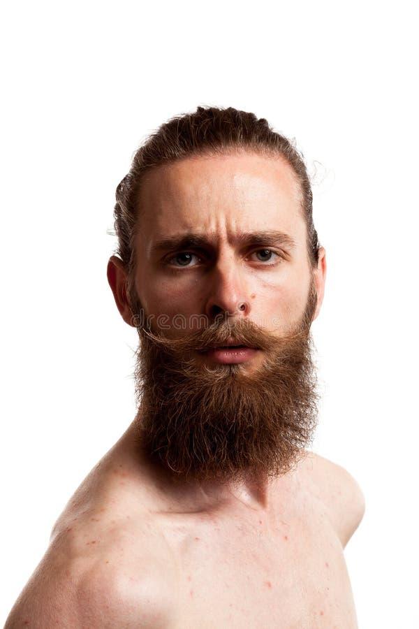 Portret van koel hipster met lange baard over witte achtergrond stock foto