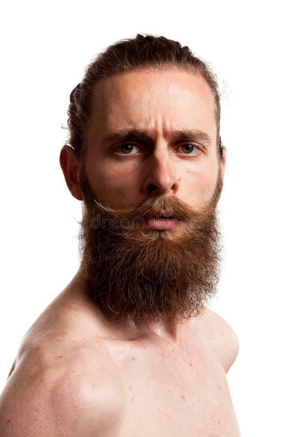 Portret van koel hipster met lange baard over witte achtergrond royalty-vrije stock afbeeldingen