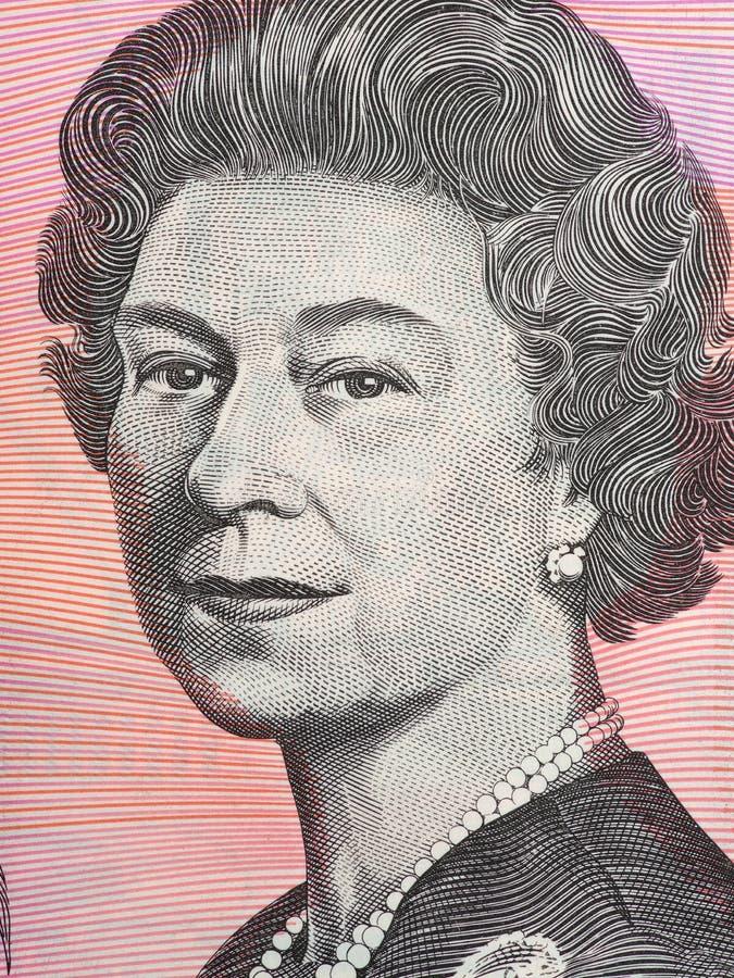 Portret van Koningin Elizabeth II - Australische 5 dollarrekening stock afbeelding