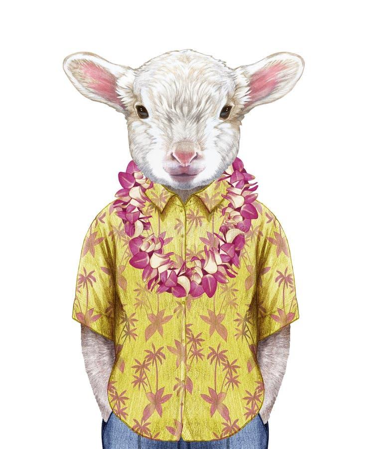 Portret van Lam in een de zomeroverhemd met Hawaiiaanse Lei vector illustratie
