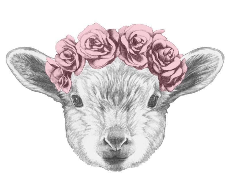 Portret van Lam met bloemen hoofdkroon royalty-vrije illustratie