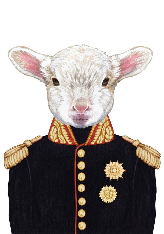 Portret van Lam in militaire eenvormig royalty-vrije illustratie