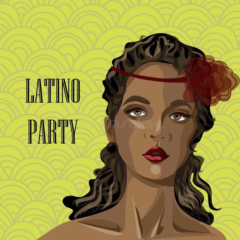 Portret van Latijns-Amerikaanse vrouw royalty-vrije illustratie