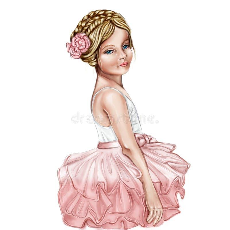 Portret van Leuk en glimlachend meisje die een ballerinakostuum dragen stock illustratie