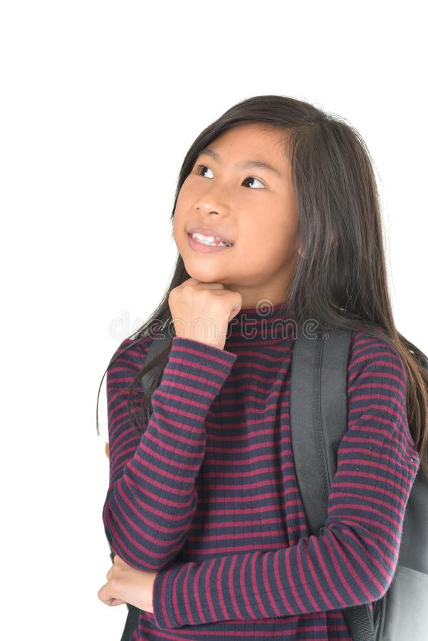 Portret van leuk meisje op witte achtergrond stock afbeelding