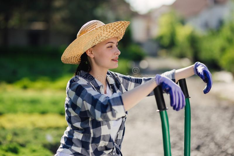 Portret van leuk tuinmanmeisje met kruiwagen die in tuinmarkt werken stock afbeelding