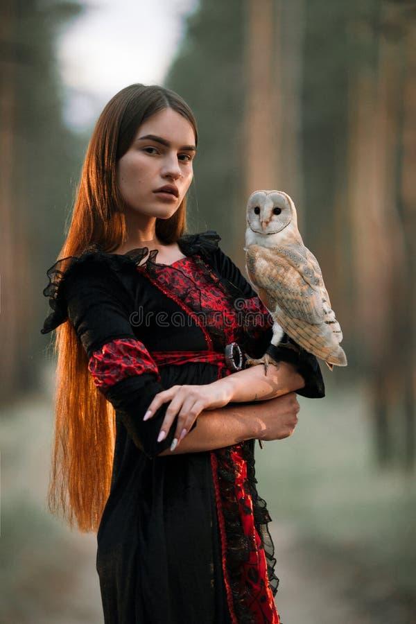 Portret van meisje in bos met in hand uil Close-up royalty-vrije stock afbeelding