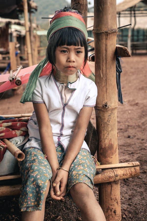 Portret van meisje de heuvelstam van van Padaung (Karen) royalty-vrije stock fotografie