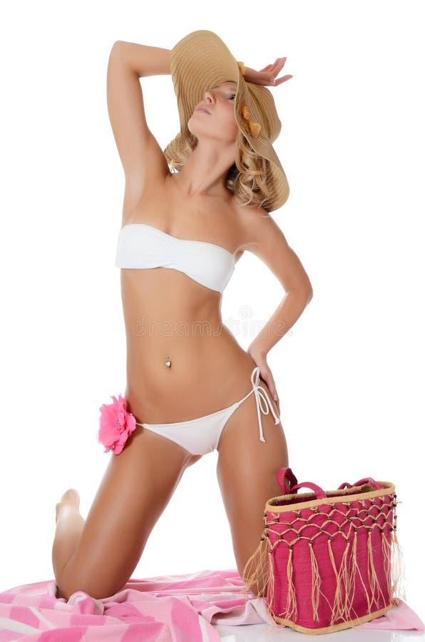 Portret van meisje in strandhoed royalty-vrije stock foto