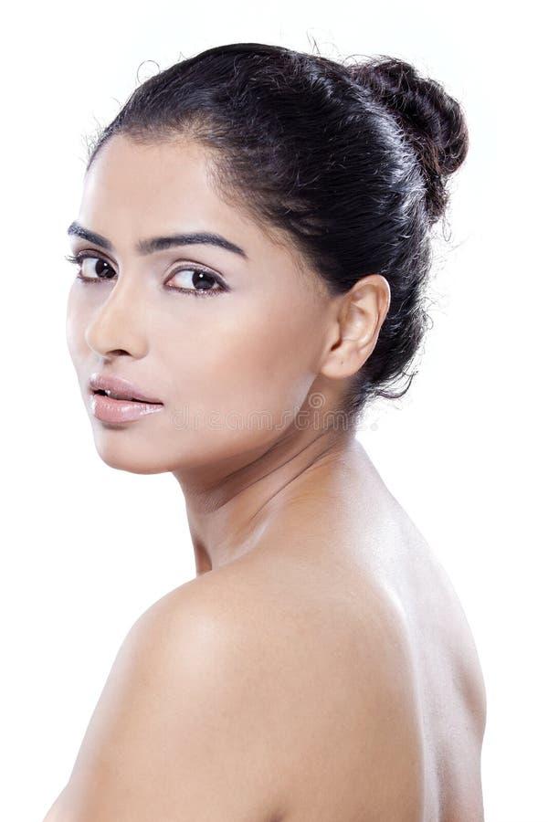Portret van model met perfecte huid stock afbeelding