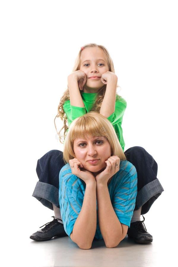 Portret van moeder en dochter stock foto
