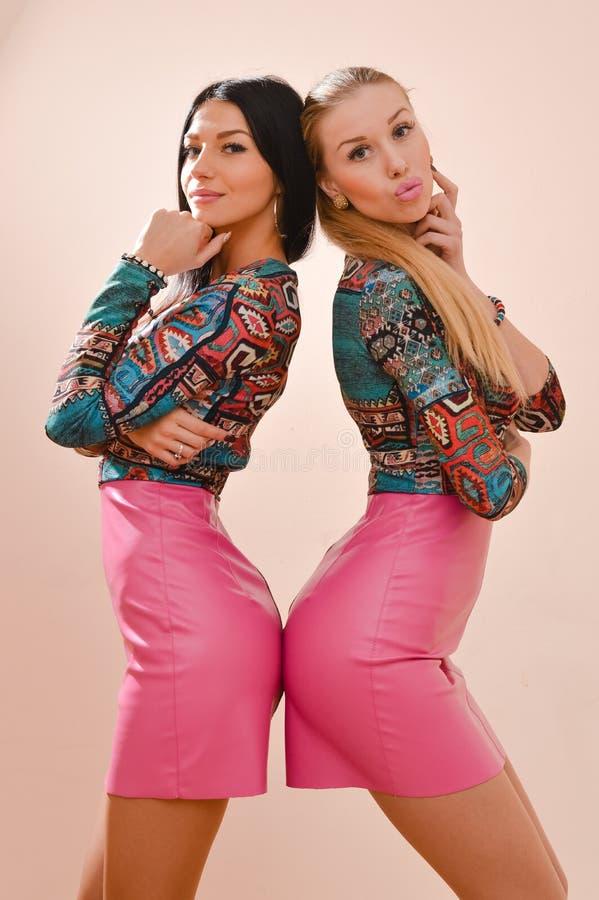 Portret van mooi gelukkig blonde 2 en donkerbruine sexy jonge vrouwen sensuele meisjes die zich in roze leerrokken verenigen royalty-vrije stock foto's
