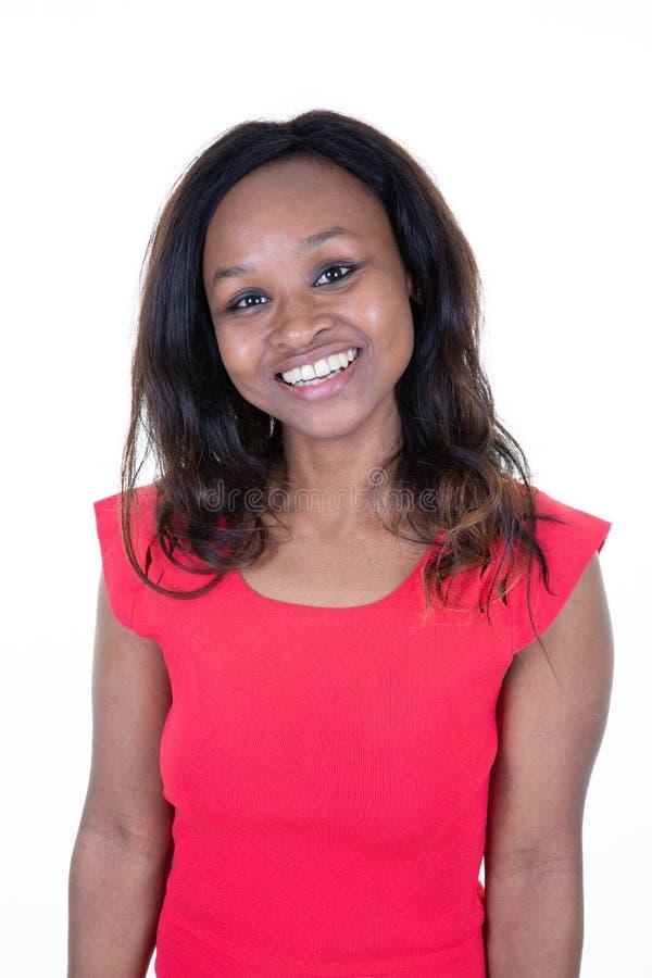 Portret van Mooi Glimlachend Zwarte met Vers Gezicht royalty-vrije stock afbeeldingen