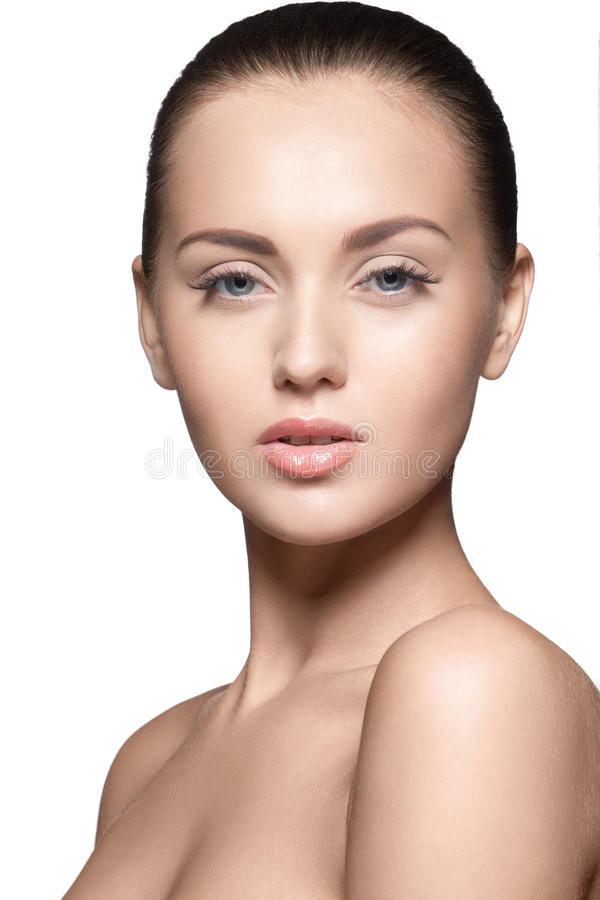 Portret van mooi jong model, over wit stock fotografie