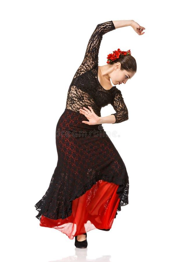 Portret van mooi jong vrouw het dansen flamenco royalty-vrije stock foto's